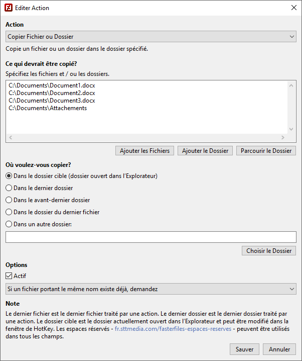 FasterFiles - Editer les Actions - Capture d'écran