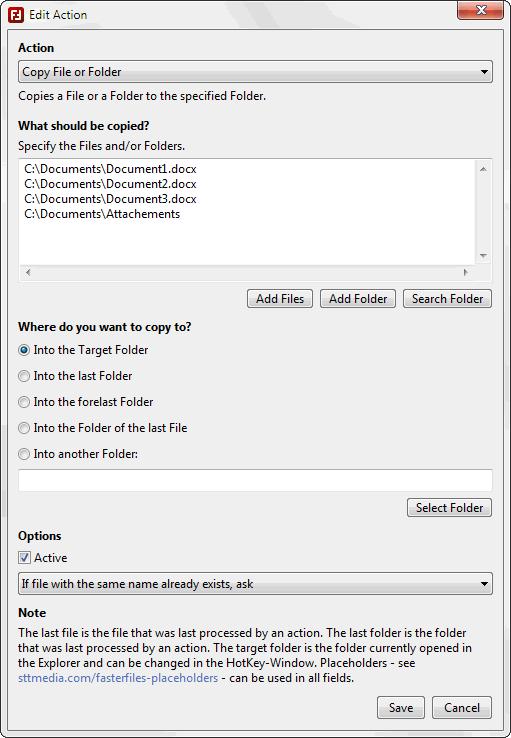 FasterFiles - Edit Actions - Screenshot