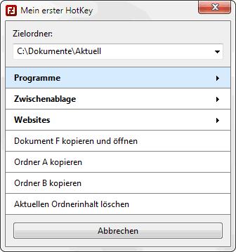 FasterFiles - HotKeys ausführen - Screenshot