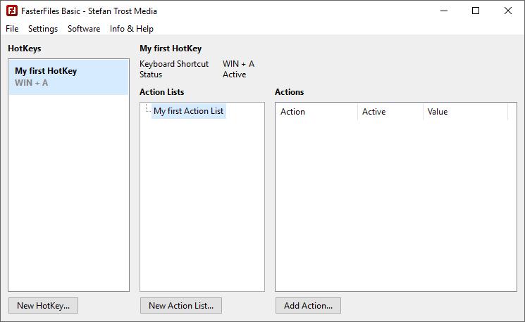 FasterFiles - Main Window - First Action List - Screenshot
