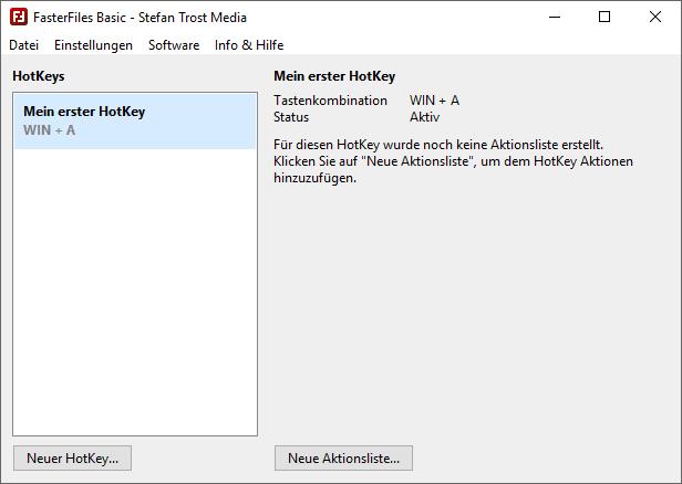 FasterFiles - Hauptfenster - Erster HotKey - Screenshot