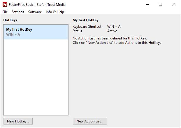 FasterFiles - Main Window - First HotKey - Screenshot