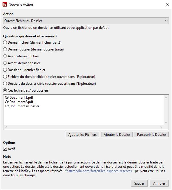 FasterFiles - Créer des Actions - Capture d'écran