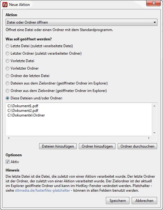 FasterFiles - Aktionen anlegen - Screenshot