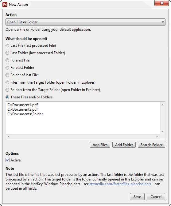 FasterFiles - Create Actions - Screenshot