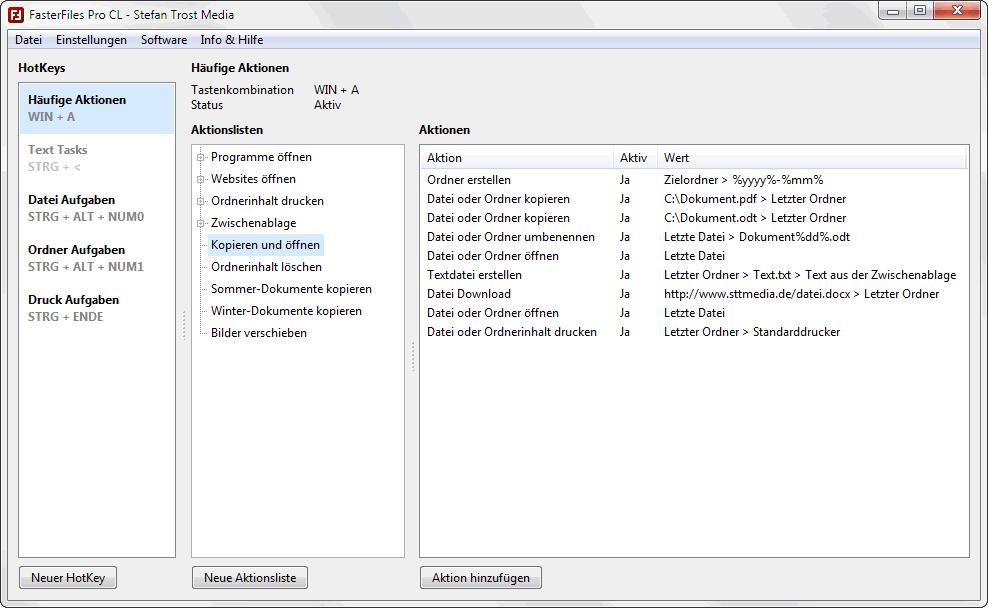 FasterFiles - HotKeys verwalten - Screenshot