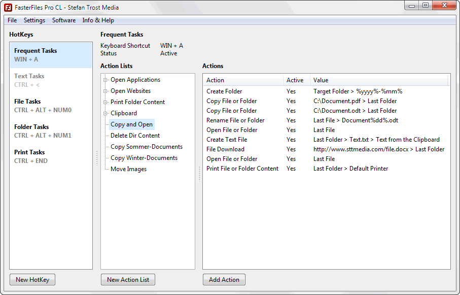 FasterFiles - Manage HotKeys - Screenshot