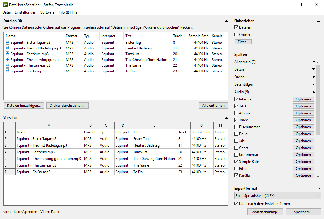 DateilistenSchreiber - Audio Dateien - Screenshot