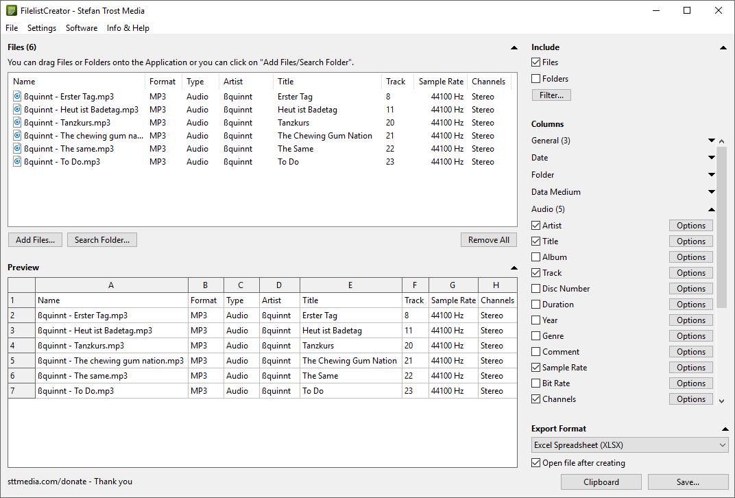 Filelist Creator screenshot