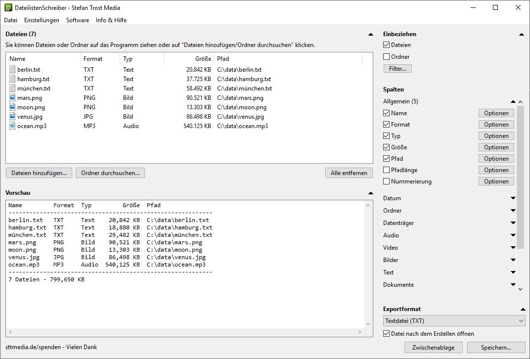 DateilistenSchreiber - Spalten - Screenshot