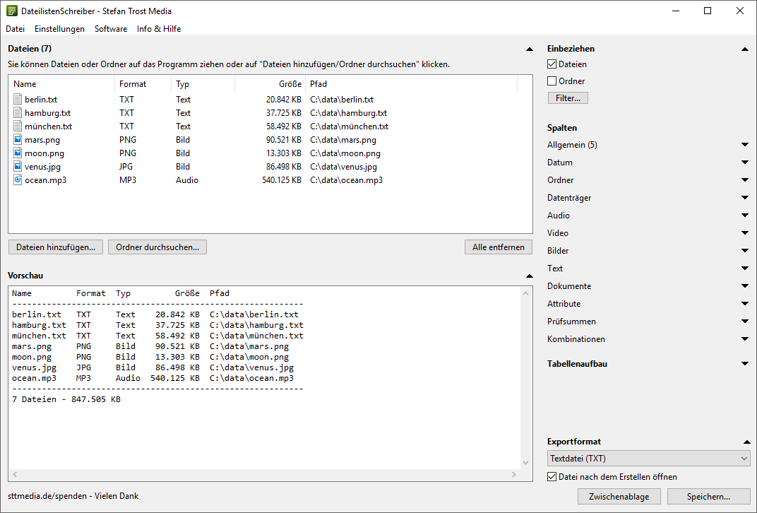DateilistenSchreiber - Screenshot