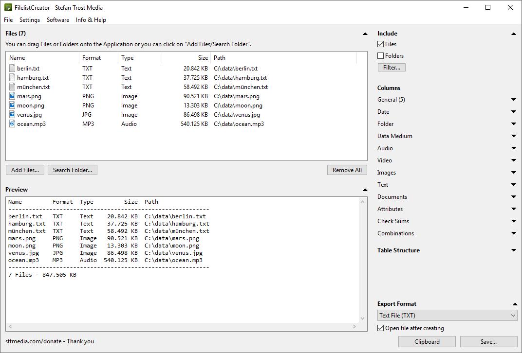 Full Filelist Creator screenshot