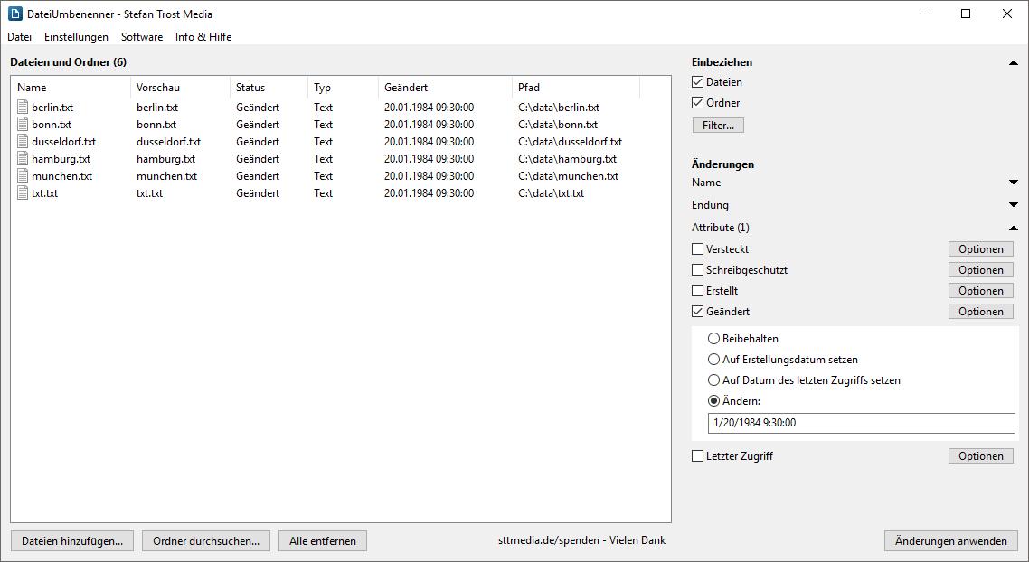 DateiUmbenenner - Dateiattribute ändern - Screenshot