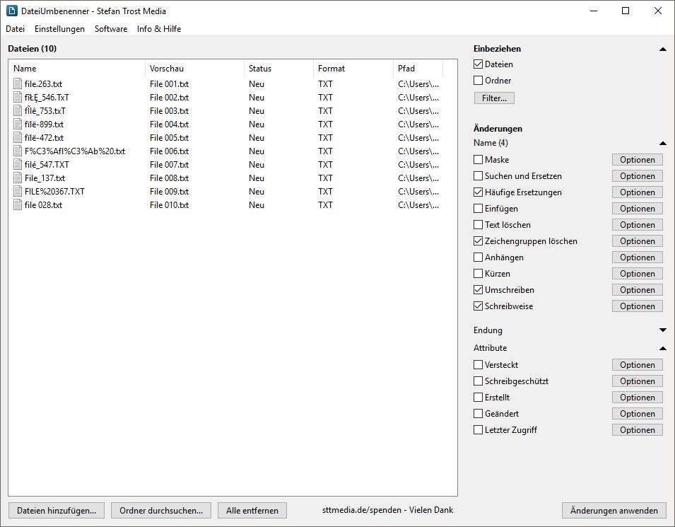 DateiUmbenenner - Screenshot