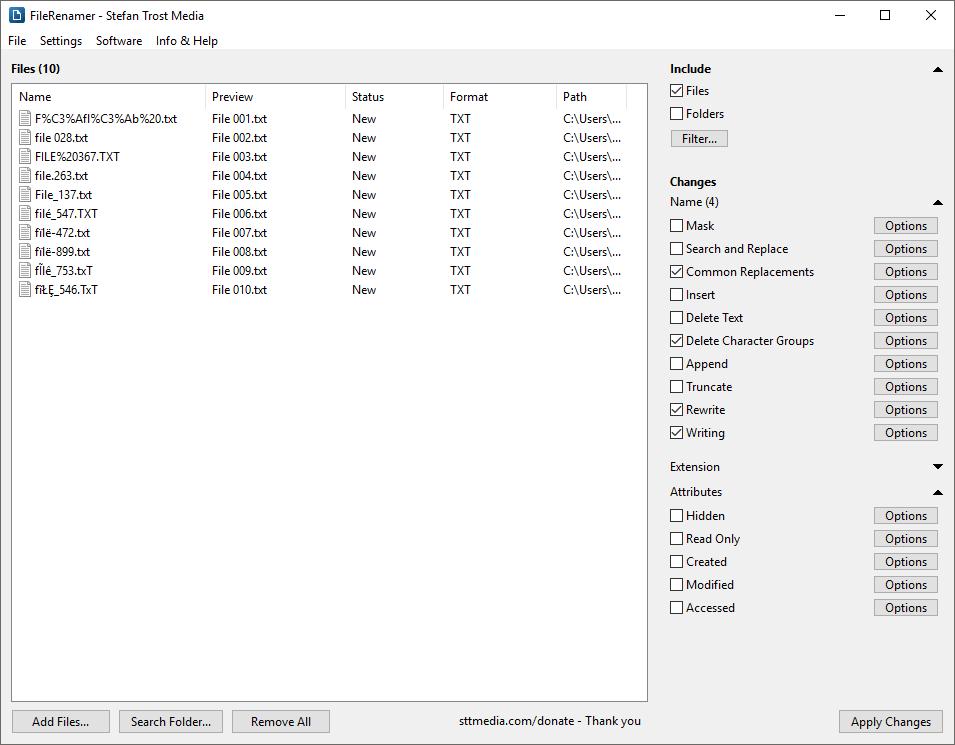 FileRenamer - Screenshot