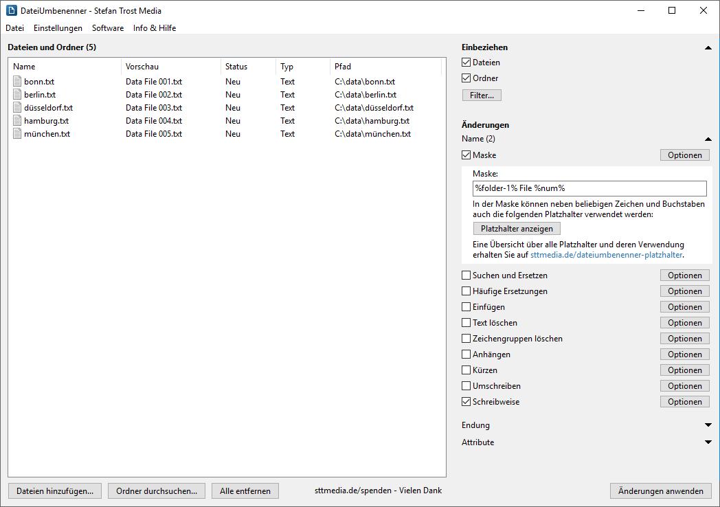 DateiUmbenenner - Nummerierung von Dateien - Screenshot