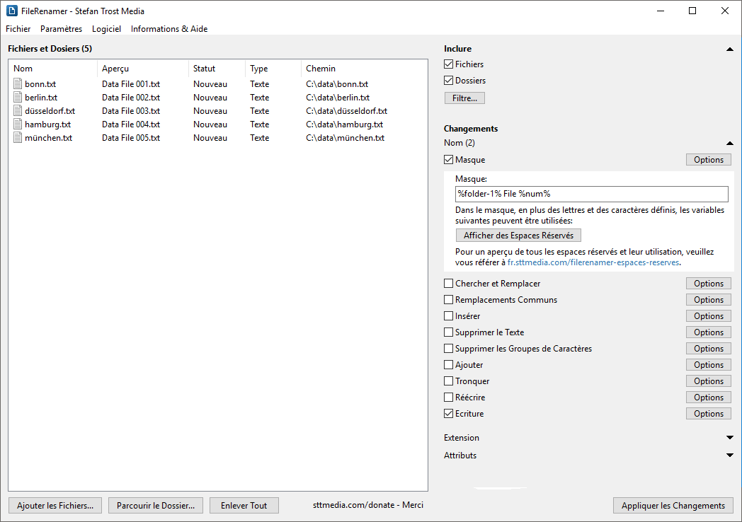 FileRenamer - Numérotation des Dossiers - Capture d'écran
