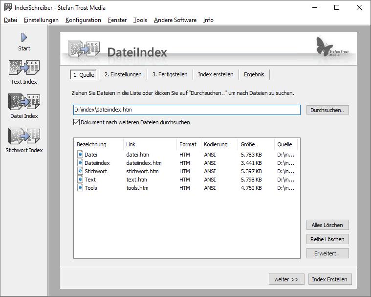 IndexSchreiber - Datei Index - Screenshot