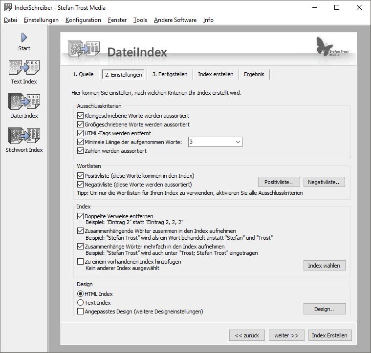 IndexSchreiber - Screenshot