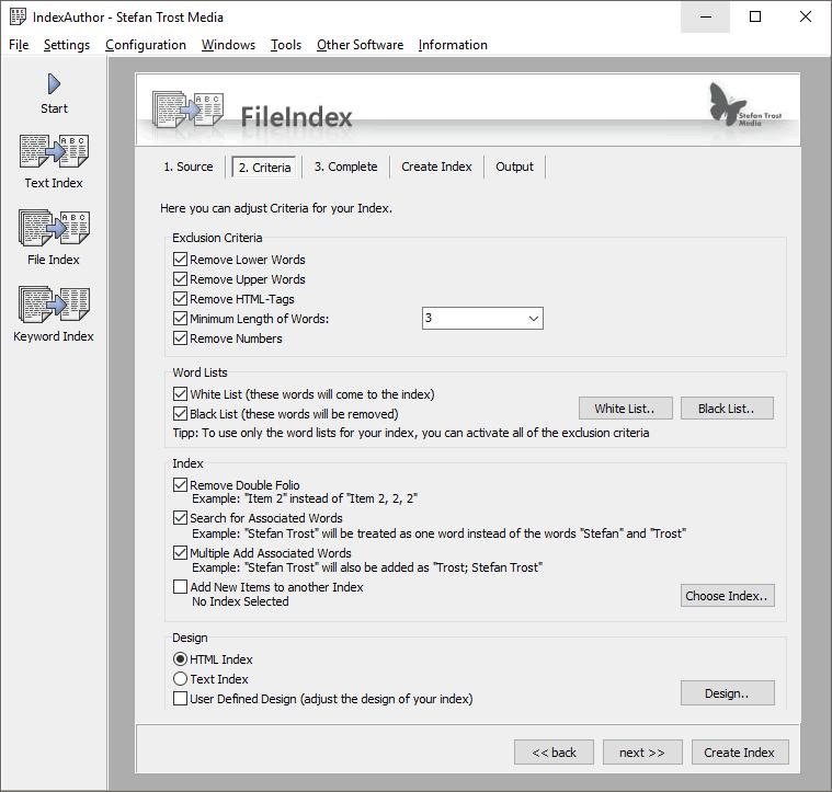 IndexAuthor - Capture d'écran