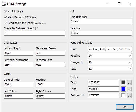 IndexAuthor - Paramètres - Capture d'écran