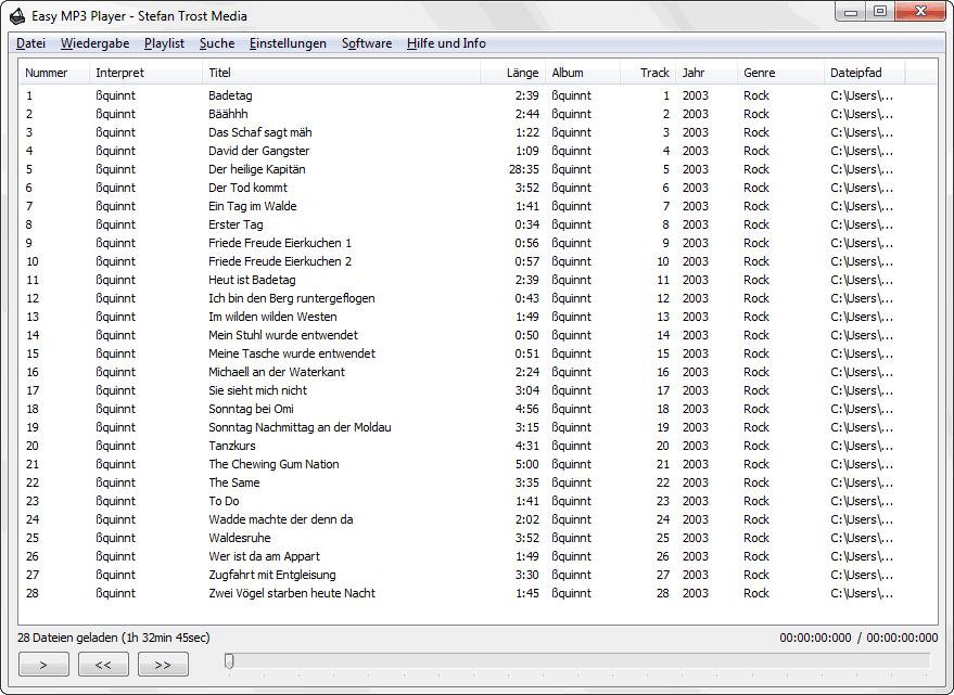 EasyMusicPlayer - Die Playlist - Screenshot