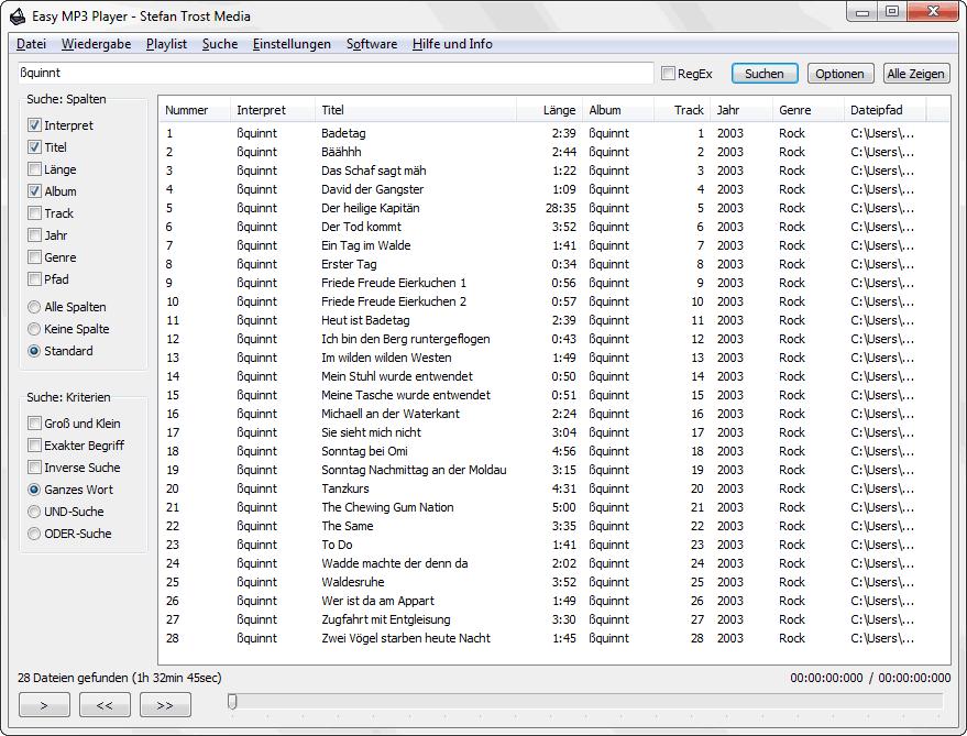 EasyMusicPlayer - Die Suchfunktion - Screenshot
