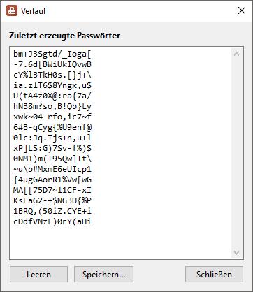 PasswortGenerator - Verlauf - Screenshot