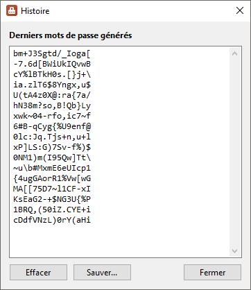 PasswordGenerator - Histoire - Capture d'écran