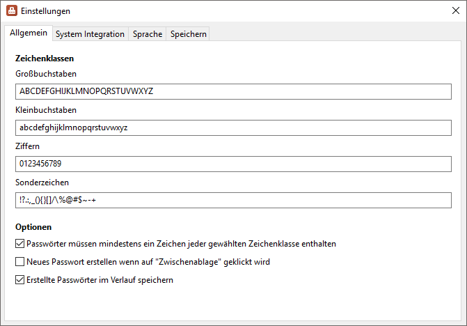 PasswortGenerator - Einstellungen - Screenshot