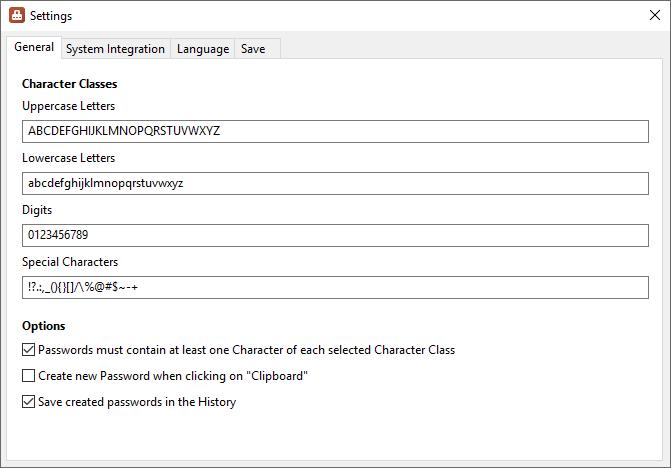 PasswordGenerator - Settings - Screenshot
