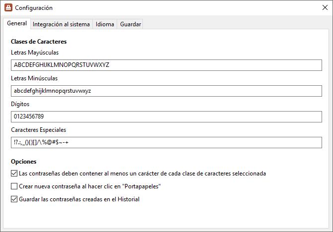 PasswordGenerator - Configuración - Captura de Pantalla