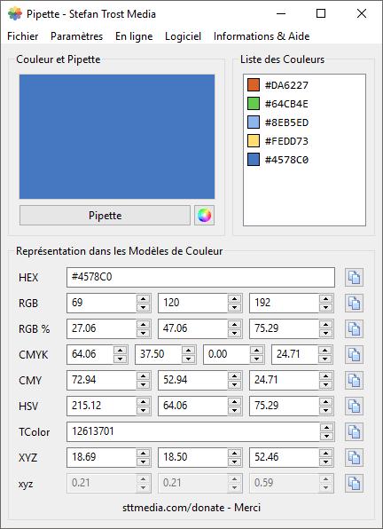 Pipette - Capture d'écran
