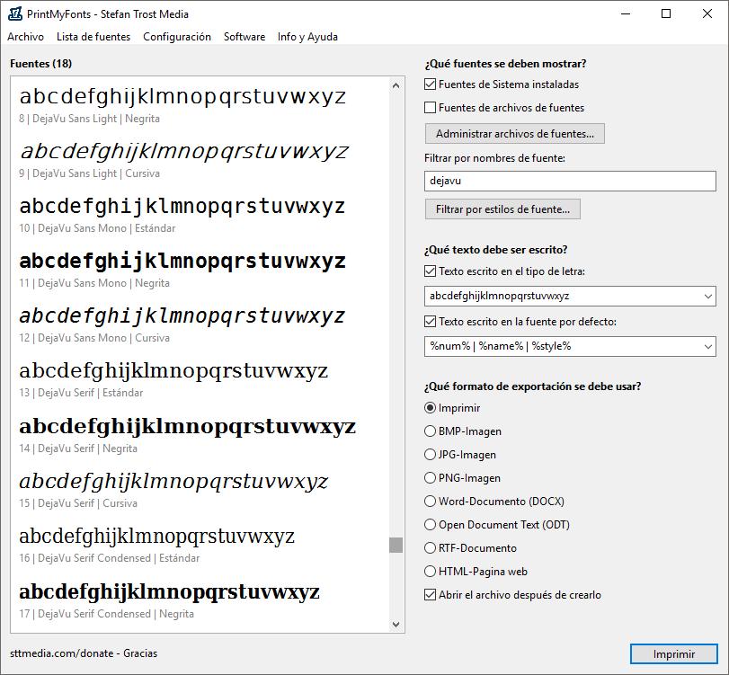 PrintMyFonts - Filtro y Variantes de Fuentes - Captura de Pantalla