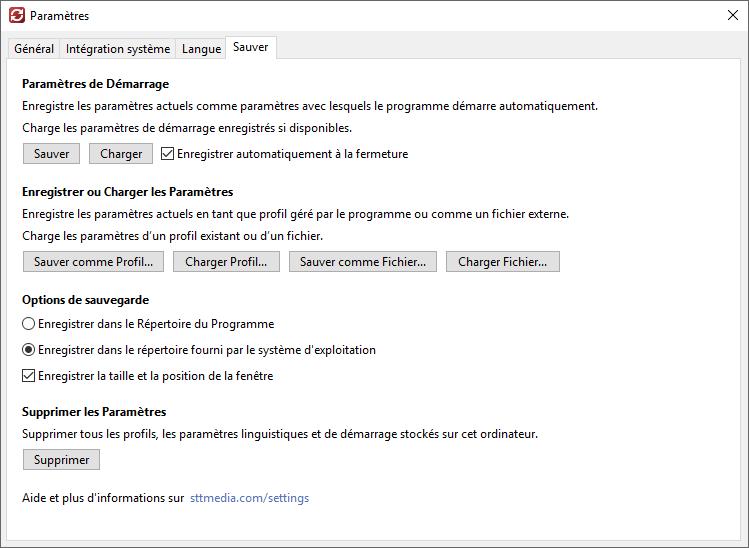 Sauver et Charger les Paramètres - Capture d'écran