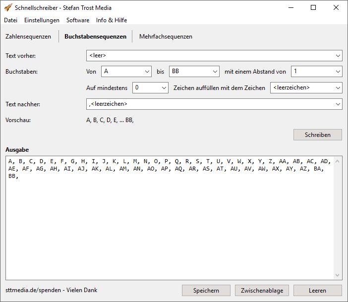 SchnellSchreiber - Buchstabensequenzen - Screenshot