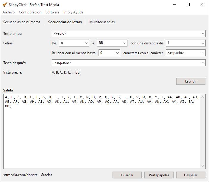SlippyClerk - Secuencias de Letras - Captura de Pantalla