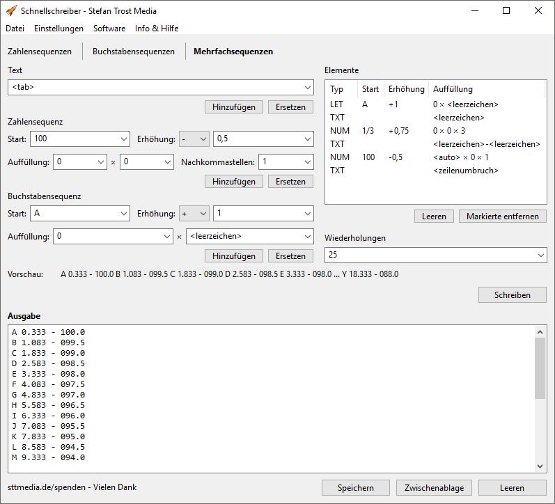 SchnellSchreiber - Mehrfachsequenzen - Screenshot
