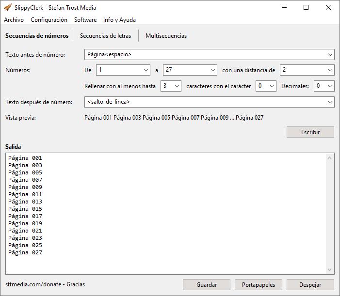 SlippyClerk - Secuencias de Números - Captura de Pantalla