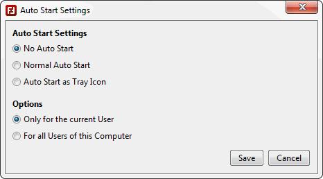 Auto Start Settings - Screenshot