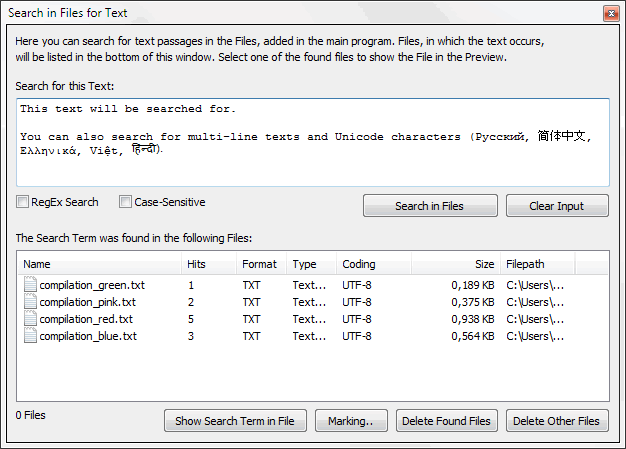 TextConverter - Search in Text Files - Screenshot