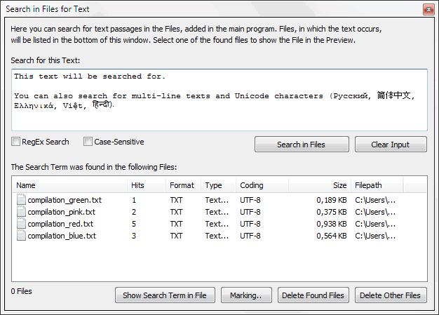 TextConverter - Rechercher dans des Fichiers Texte - Capture d'écran