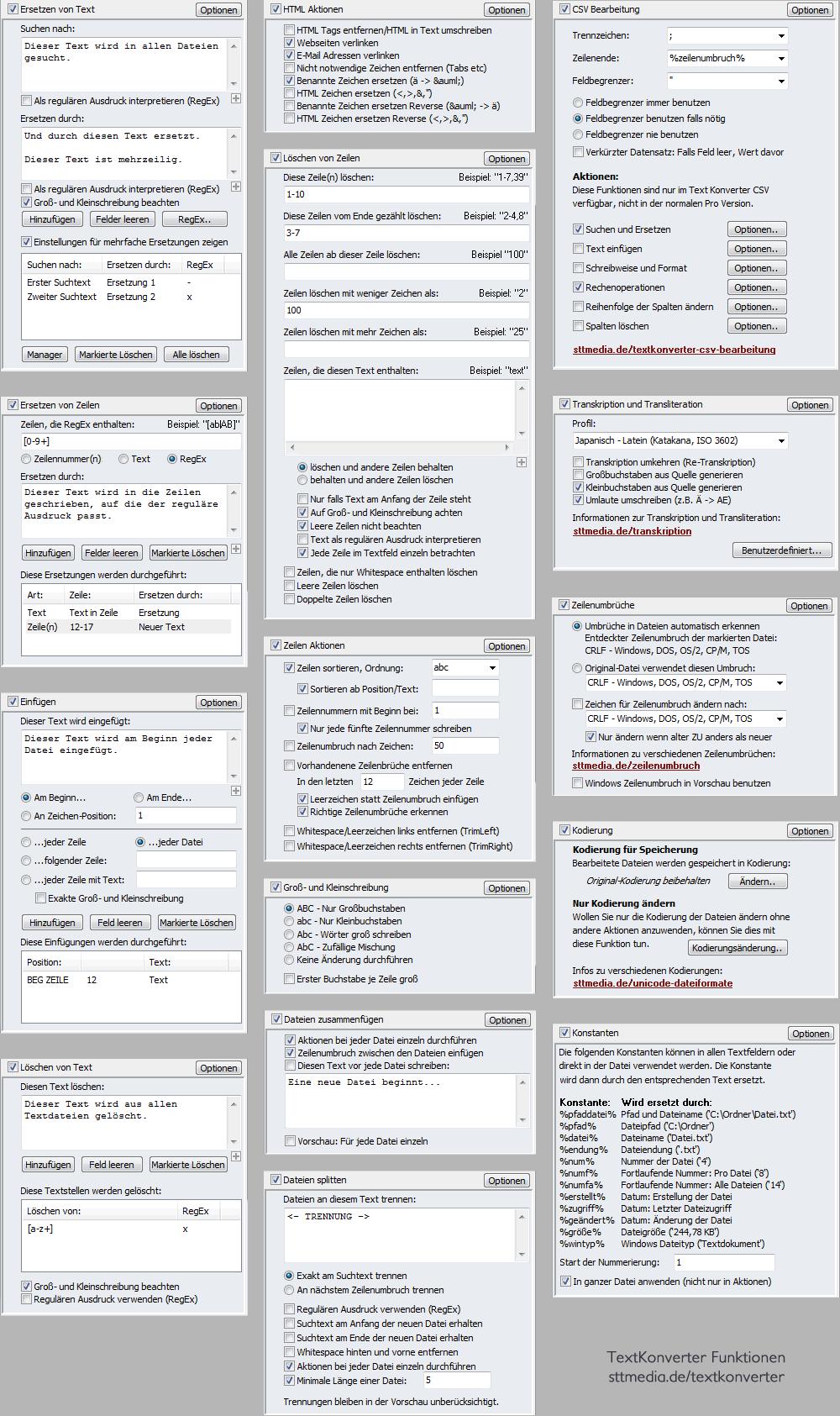 TextKonverter - Die Aktionen - Screenshot