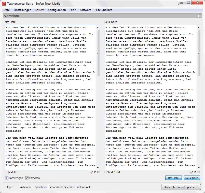 TextKonverter - Individuelle Fensterbereiche - Screenshot