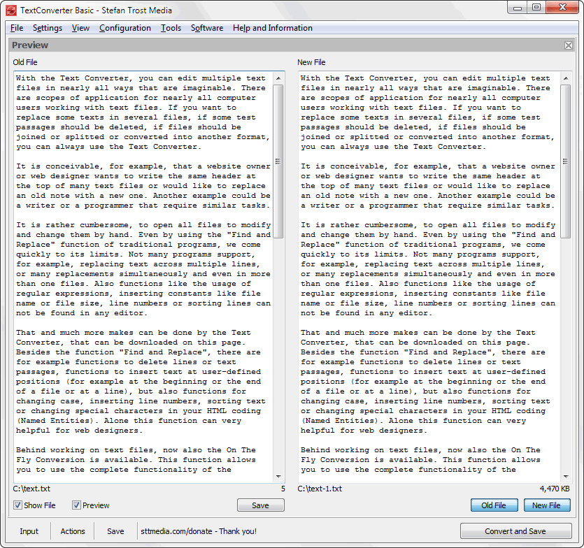 TextConverter - Individual View - Screenshot