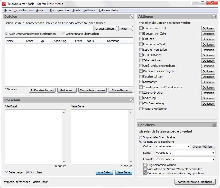 TextKonverter - Das Hauptprogramm - Screenshot