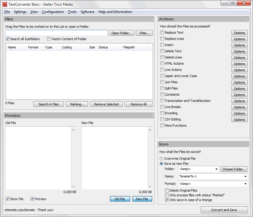 TextConverter - The Main Program - Screenshot