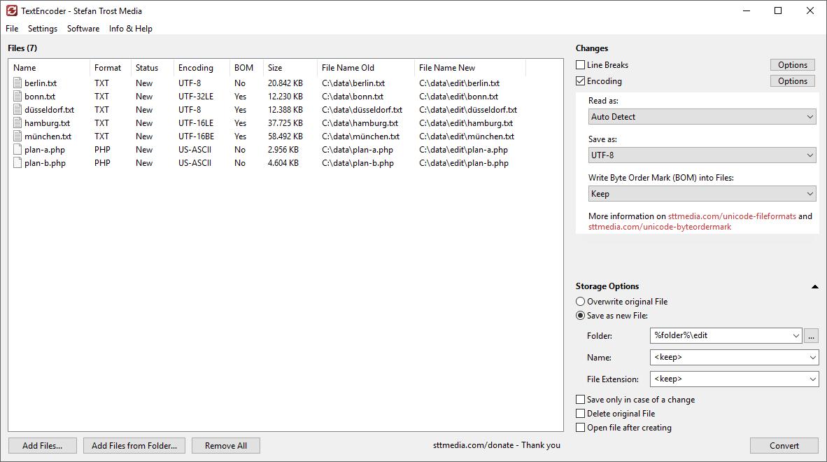 TextEncoder - Change Encoding - Screenshot