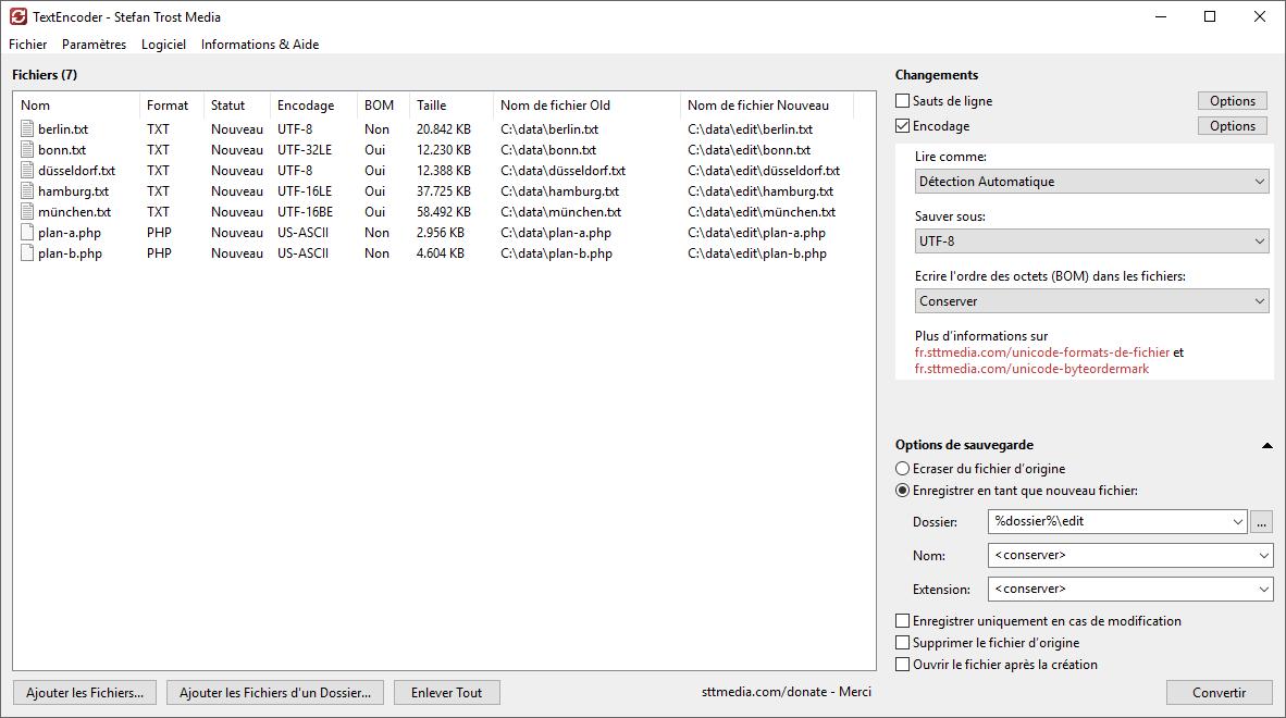 TextEncoder - Changer l'encodage - Capture d'écran