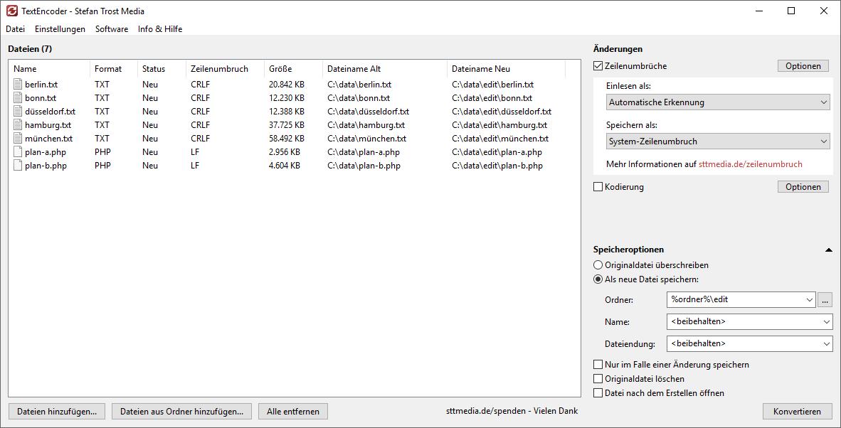 TextEncoder - Zeilenumbruch-Typ ändern - Screenshot